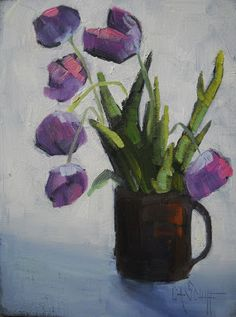 """Palette Knife Painters: Floral Still Life Painting, """"Cup O Tulips"""" my Caro..."""