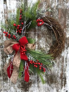 Items similar to Winter Christmas Wreath for Door – Red and White Holiday Wreath – Country Christmas Wreath on Etsy – christmas decorations Grapevine Christmas, Christmas Door Wreaths, Christmas Porch, Outdoor Christmas Decorations, Country Christmas, Holiday Wreaths, Winter Christmas, Christmas Crafts, Christmas Ornaments
