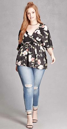 Plus Size Satin Floral Top