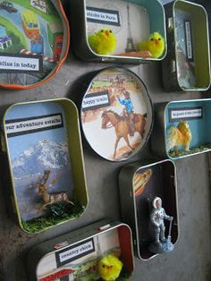Fridge magnets made from jar lids, Altoids tins, found objects, favourite quotes and background images.