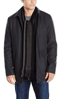 Brand: Calvin Klein Color: Medium Grey Features: Zip front, open cuffs, wing collar Detachable scarf, exterior and interior pockets Publisher: Calvin Klein Mens Mens Wool Coats, Look Good Feel Good, Calvin Klein Men, Wool Scarf, Men Sweater, Mens Fashion, Sweaters, Coloring Books, Mixers