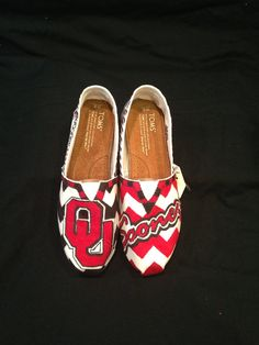 Oklahoma University Custom Painted Toms Canvas Shoes on Etsy, $105.00