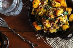 Roasted Butternut Squash with Kale and Almond Pecan Parmesan - Recipe Detail - BakeSpace.com