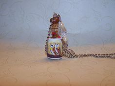 Golden Owls Glass Bottle Necklace by Marie by WishUponaBottle