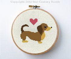 Dachshund Valentine Cross Stitch Dog Pattern Instant Download PDF Digital Needlepoint