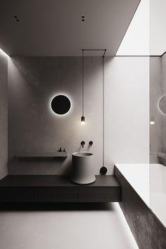 Black Grey Living Room, Cream Living Rooms, Grey Kitchen Designs, Dark Bathrooms, Minimal Bathroom, Small Apartment Design, Restroom Design, Ceiling Installation, Dark Interiors