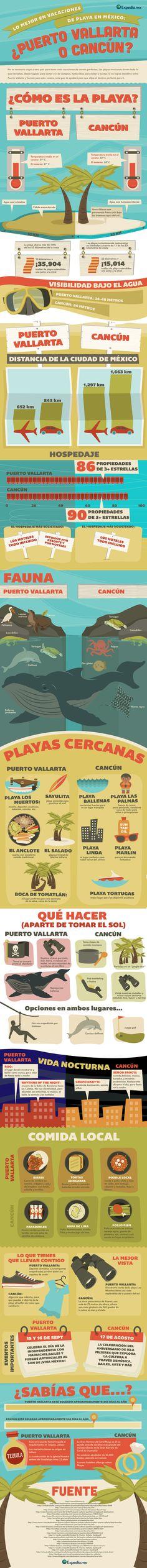 Lo mejor en vacaciones de playa en México: ¿Puerto Vallarta o Cancún?  No es necessario viajar a otro país para tener unas vacaciones de verano perfectas. Las playas mexicanas tienen todo lo que necesitas, desde lugares para comer e ir de compras, hasta sitios para visitar o bucear. Si no logras decidirte entre Puerto Vallarta y Cancún para este verano, esta guía te ayudará para que elijas el destino perfecto para ti.