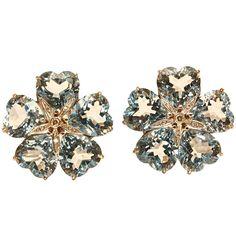 Spectacular Topaz & Diamond Flower Earclips