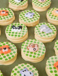 Dipped Oreo decorated cookies jungle theme using chocolate transfers- hippo, lion, monkey, panda, elephant
