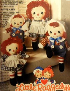"Raggedy Ann and Andy Doll ""Little Raggedys"" Sewing Pattern UNCUT McCalls 702 cloth dolls"