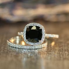 Halo Diamond Black Spinel Engagement Wedding Ring by LaMoreDesign