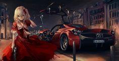 イラスト 2315x1204 with  東方 フランドール・スカーレット てらばいと 長髪 ソロ highres looking at viewer wide image 金髪 赤い目 holding サイドポニーテール vampire 女の子 ドレス ちょう結び 武器 hair bow 翼 gun