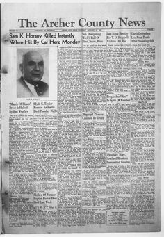 Weekly newspaper from Archer City, Texas that includes local, state and national news along with advertising.