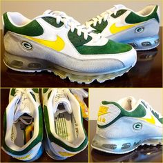 Check out this Nike Air Max 90/360 with Packers inspiration that was made especially for Brett Favre.