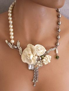 Necklace | Second Look Jewelry Designs.   Hand sculpted roses in cream, faux pearls and vintage rhinestones, vintage silver tone beads and faceted cut glass pieces.