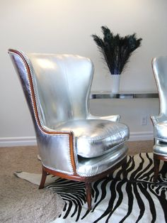 Silver wingback chairs-DIY paint a chair inspiration? Decor, Funky Furniture, Wingback Chair, Mid Century Lounge Chairs, Chair, Furniture, Cool Furniture, Beautiful Chair, Funky Chairs