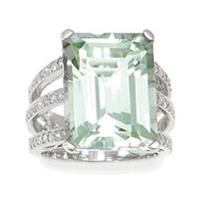 18k White Gold Green Amethyst and Diamond Ring