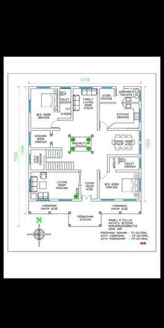Ideas Home Plans Traditional Kitchens Courtyard House Plans, Duplex House Plans, House Layout Plans, House Plans One Story, House Floor Plans, Square House Plans, Indian House Plans, Free House Plans, 3 Bedroom Home Floor Plans