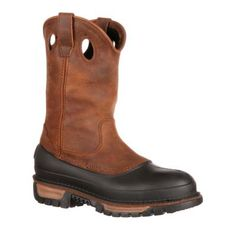 The Georgia Muddog steel toe waterproof wellington offers on-the-job protection for many occupations. It's waterproof, durable and comfortable, and is protective against worksite hazards. The molded TPU Georgia Boots, Wellington Boot, Steel Toe, Wedge Boots, Brown Boots, Low Heels, Leather Boots, Riding Boots, Calves