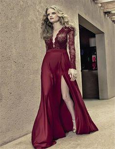 2015 de la alta calidad Sexy profundo escote en v raja del lado Wine largo rojo de encaje vestido de noche completa mangas Robe de soirée
