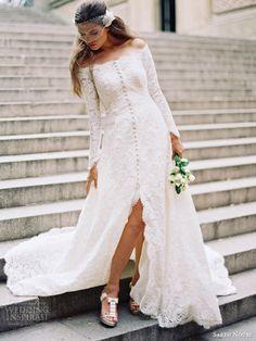 sareh nouri fall 2014 bridal halina long sleeve wedding dress bridal coat  weddingbrand.com
