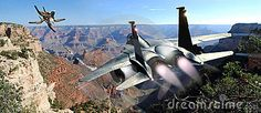 A fighter F15  pursues an UFO  over the Grand Canyon.