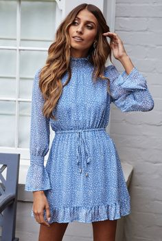 Color: Blue Material: Chiffon Casual Dresses For Women, Cute Dresses, Mini Dresses, Blue Dress Casual, Casual Wear, Casual Party Dresses, Dress Party, Fall Dresses, Stylish Dresses