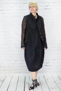 #Black translucent #jacket, #tailored #style with pockets. Interesting collar, #black buttons with a white line. 65% cotton 35% polyamide, washable at 30.