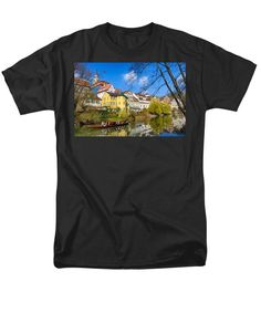 Purchase an adult t-shirt featuring the image of Punt On River Neckar In Tubingen Germany by Matthias Hauser.  Available in sizes S - 4XL.  Each t-shirt is printed on-demand, ships within 1 - 2 business days, and comes with a 30-day money-back guarantee. Also availabe in a women and youth version. Matthias Hauser hauserfoto.com