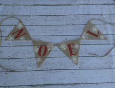Glitter Noel Burlap Christmas Banner