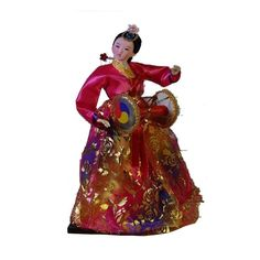 Ancient Vintage Korea Hanbok Girl Doll silk furnishings Statue Girl geisha