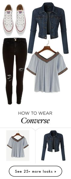 """""""Untitled #8791"""" by beatrizibelo on Polyvore featuring River Island, LE3NO and Converse"""