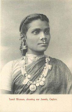 Portrait of a Tamil Woman showing various Jeweleries - Ceylon (Sri Lanka) Tribal Jewelry, Indian Jewelry, Vintage Photographs, Vintage Photos, Vintage Posters, Sri Lanka, Vintage India, Vintage Fashion, Women's Fashion
