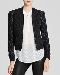 Rebecca Taylor Jacket - Textured Lace Bomber | Bloomingdale's