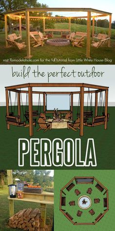 Build the perfect pergola! Learn to DIY this beautiful circular pergola with a c. Build the perfect pergola! Learn to DIY this beautiful circular pergola with a central firepit, swings, and Adirondack chairs - Little White House Blo. Diy Pergola, Outdoor Pergola, Pergola Ideas, Outdoor Swings, Pergola Swing, Diy Backyard Ideas, Backyard Games, Diy Ideas, Pergola Roof