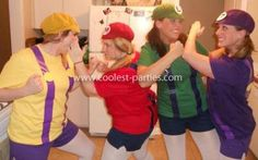 Mario Bros Group Costume: We decided to do an easy group costume with Mario, Luigi, Wario and Waluigi. We found men's tshirts, gym short and white leggings in the colors we needed.