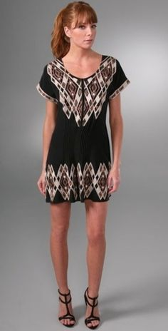 Scoop-neck silk dress with pintucking at waist