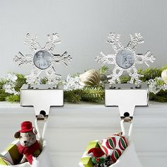 Hammered Snowflake Picture Frame Stocking Hooks Set of 2 | Crate and Barrel