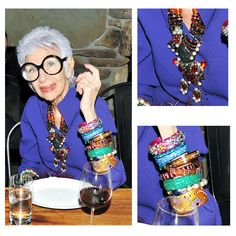 Big glasses & big jewelry.  This'll be me if I'm lucky enough to get to 80+...