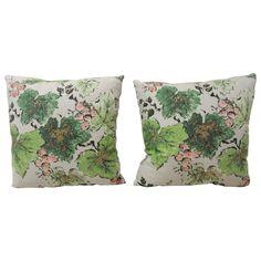 Pair of Green Barkcloth Pillows Depicting Grapes and Vines