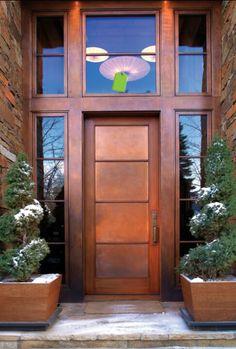 Love the windows around the doors Contemporary Front Doors, Modern Front Door, Front Door Design, Front Entry, Front Door Decor, Front Stoop, Cool Doors, The Doors, Entrance Doors