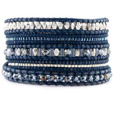 Chan Luu - Blue Mix Bead and Crystal Wrap Bracelet on Natural Blue Leather…
