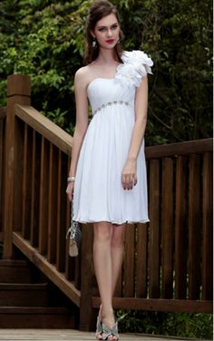 White Sheath Knee-length One Shoulder Dress [Dresses 9586] - $127.00 :