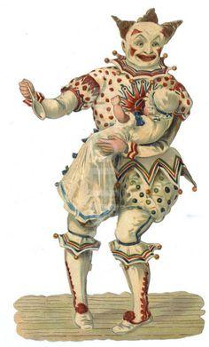 Victorian Circus white faced clown circa 1880.