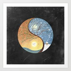 OPPOSITES LOVE - Yin-Yang Tree: Summer-Winter 2 Art Print by Belle13 - $18.00