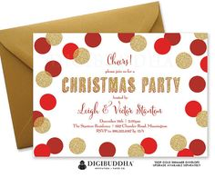 Festive red and gold glitter confetti dots Christmas party invitation. Choose from ready made printed invitations with envelopes or printable holiday party invitations. Gold shimmer envelopes and matching envelope liners available at digibuddha.com