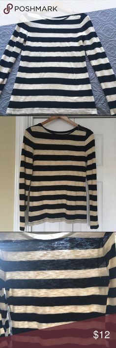 """ANN TAYLOR LOFT Black & Cream Top In  Small Petite Super cute black and cream striped Ann Taylor Loft in Small Petite. 100% cotton. Long sleeved. Excellent condition. Has a cute bronze zipper on the left shoulder. No stains or tears. Comes from a smoke free home. Shirt measurements taken while lying flat: shoulder to bottom hem 25"""".  Shoulder to end of sleeve:  24"""".  Bust:  16"""". Material is very lightweight. Super cute!! Bundle and save 20%. LOFT Tops"""