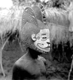 Igbo Tribe, Nigeria. Mmuo Initiation. Mask: Mmuo Crest, Materials:Wood, copper, cowries, leather, calabash, beads