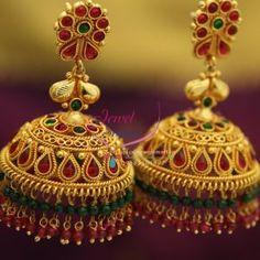 broad-grand-temple-kempu-ruby-emerald-beads-hangings-dulhan-jhumka-buy-online
