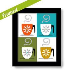 Kitchen Decor Coffee Cup Mid Century Modern Digital Art by DexMex, $35.00